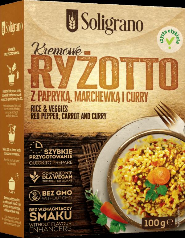 Ryżotto z papryką, marchewką i curry